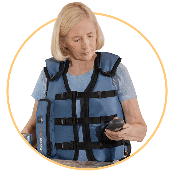 Wearing AffloVest for Airway Clearance Therapy