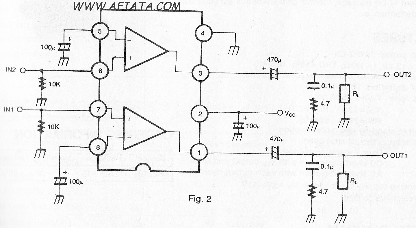 Dual Audio Power Amplifier Circuit