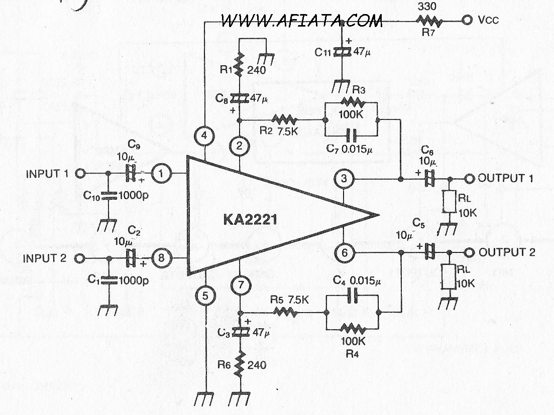 Dual Low Noise Equalizer Amplifier Circuit
