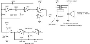 Sweeping Tone Alarm Beeper | Electronic Circuit Diagram and Layout