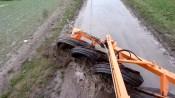 Nettoyage d'un chemin trempé avec Rubbermat