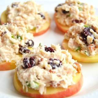 Waldorf Chicken Salad on Apple Slices