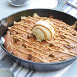 Almond Butter Chocolate Chip Cookie Skillet