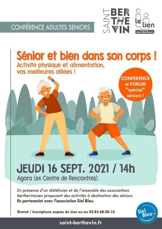 """Conférence Forum """"Sénior et bien dans son corps"""" le jeudi 16 septembre prochain à 14h à l'Agora"""