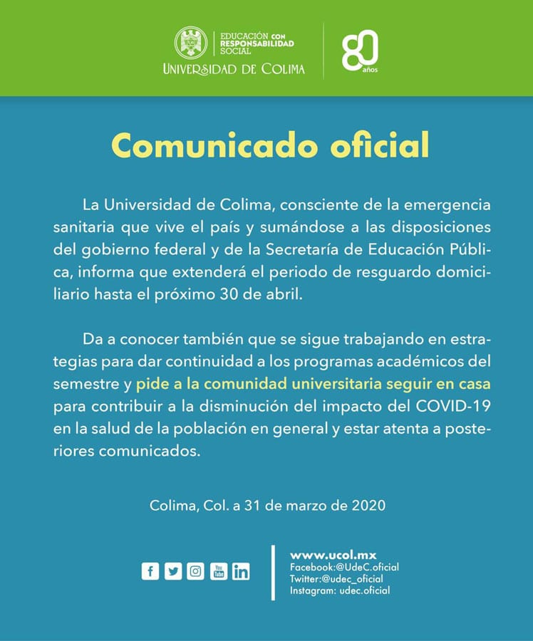 comunicado covid udc - SEP y UdeC extienden suspensión de clases hasta el 30 de abril