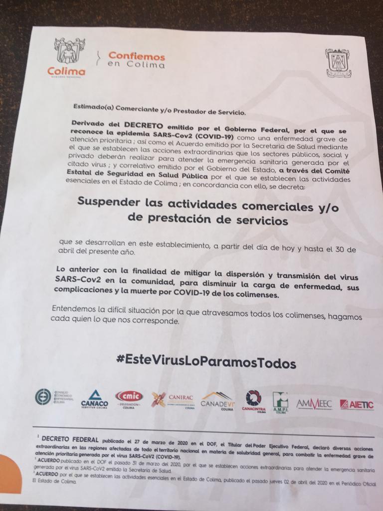 059203a1 a039 4bf0 a1d1 a06971fdf56a - Negocios de Colima reciben documento para suspender actividades por COVID-19