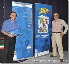 da Sx Cesare Matta con Angelo Nencetti direttore del museo del fumetto di Lucca