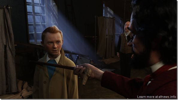 (L to R) Tintin (Jamie Bell), Nestor (Enn Reitel) and Sakaharine (Daniel Craig) in THE ADVENTURES OF TINTIN: THE SECRET OF THE UNICORN.