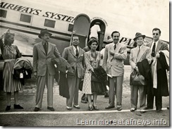 August 17, 1941: Walt Disney, his wife Lillian, and colleagues step off the plane in Rio de Janeiro at the start of a nine weeklong trip through Latin American countries.  (l-r) Hazel Cottrell, Bill Cottrell, Ted Sears, Lillian Disney, Walt Disney, Norm Ferguson, Frank Thomas.  The studio's insurance policy prohibited more than six of Disney's colleagues to travel on the same plane with him.  Photo credit:  courtesy of Cindy Garcia