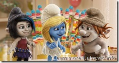 Smurfette (Katy Perry) is surrounded by Gargamel's naughty creations Vexy (left, Christina Ricci) and Hackus (right, J.B. Smoove) in a candy store in Paris, France in Sony Pictures Animation SMURFS 2.