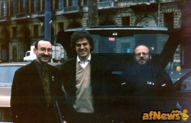Vittorio Pavesio, Guido Tiberga, Franco Fossati. Partenza per Angouleme. Foto Gianfranco Goria.