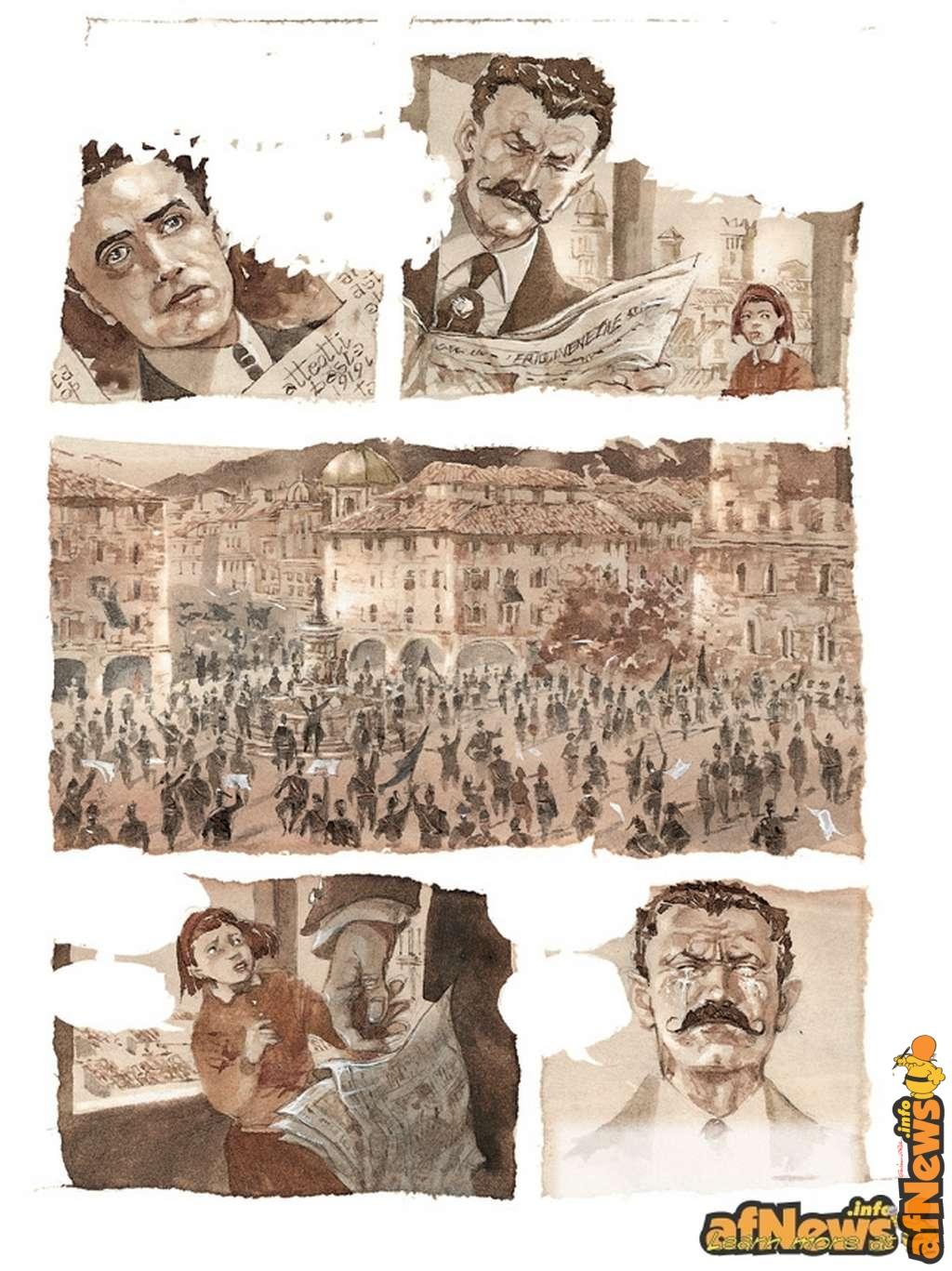 Tavola tratta dalla storia su Matteotti scritta da Gianfranco Goria e disegnata da Sergio Tisselli.