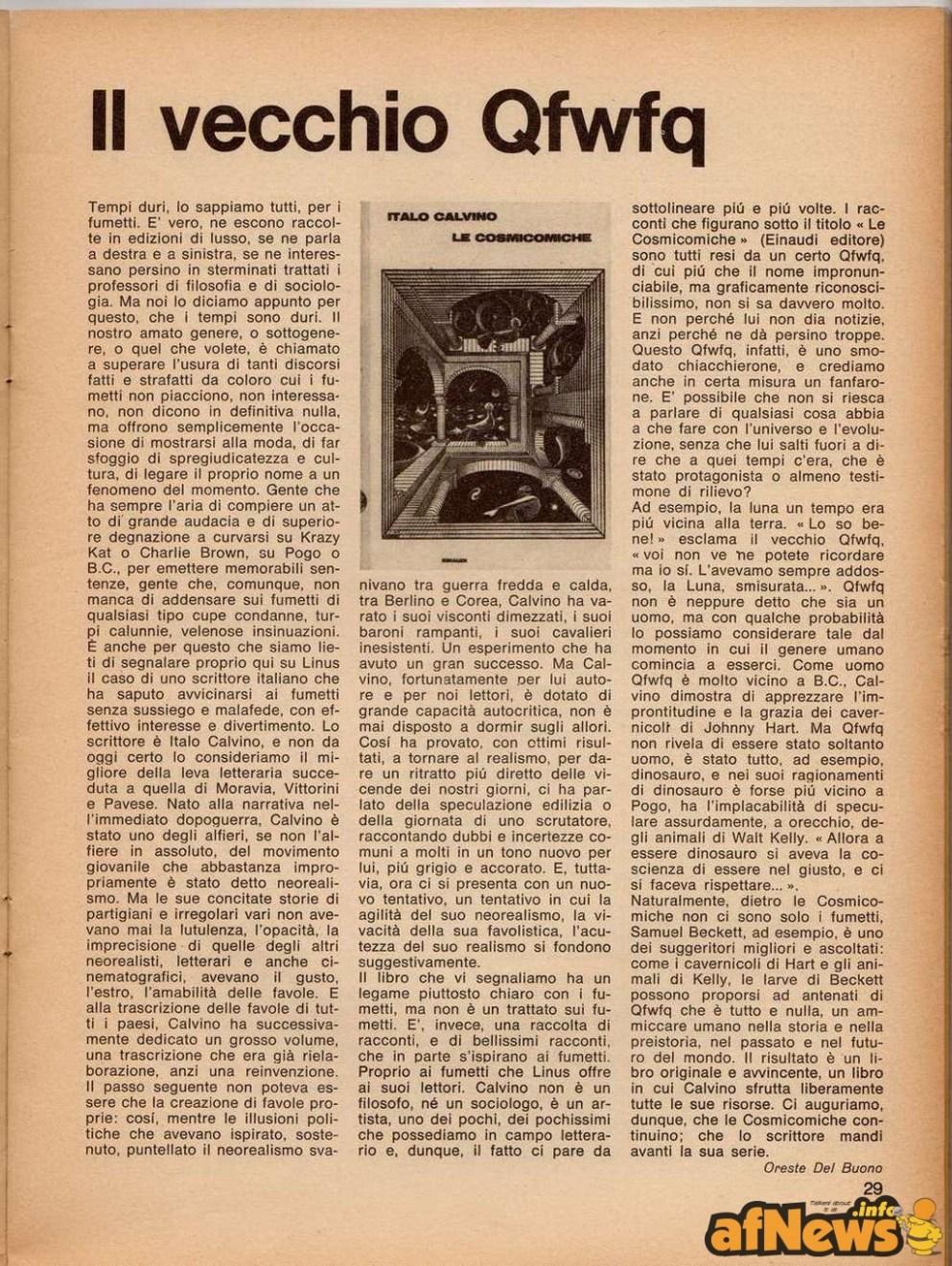 Oreste Del Buono parla di Italo Calvino (che apparirà con un suo racconto ad hoc su Linus, poco tempo dopo)