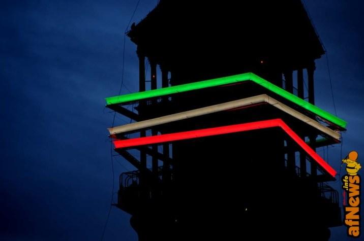 Mole Antonelliana - decorazione luminosa transitoria del 2011 per i 150 anni dell'unità d'Italia - foto Gianfranco Goria