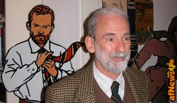 Vittorio Giardino nel suo studio - 26 aprile 2004 - foto Gianfranco Goria, dettaglio