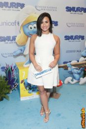 NEW YORK, NY - MARCH 18: Actress and singer Demi Lovato at the United Nations Headquarters celebrating International Day of Happiness in conjunction with SMURFS: THE LOST VILLAGE on March 18, 2017 in New York City. (Photo by Cindy Ord/Getty Images for Sony Pictures)