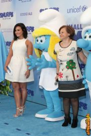 NEW YORK, NY - MARCH 18: Actress and singer Demi Lovato (L) and Under-Secretary-General for Communications and Public Information Cristina Gallach at the United Nations Headquarters celebrating International Day of Happiness in conjunction with SMURFS: THE LOST VILLAGE on March 18, 2017 in New York City. (Photo by Cindy Ord/Getty Images for Sony Pictures)