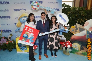 NEW YORK, NY - MARCH 18: UN Young Sustainable Development Goals Advocates Sarina Divan, Karan Jerath, and Noor Samee pose at the United Nations Headquarters celebrating International Day of Happiness in conjunction with SMURFS: THE LOST VILLAGE on March 18, 2017 in New York City. (Photo by Cindy Ord/Getty Images for Sony Pictures)