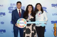 NEW YORK, NY - MARCH 18: UN Young Sustainable Development Goals Advocates Karan Jerath, Noor Samee, and Sarina Divan pose with a key to Smur Village at the United Nations Headquarters celebrating International Day of Happiness in conjunction with SMURFS: THE LOST VILLAGE on March 18, 2017 in New York City. (Photo by Andrew Toth/Getty Images for Sony Pictures)