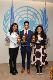 NEW YORK, NY - MARCH 18: UN Young Sustainable Development Goals Advocates Sarina Divan, Karan Jerath, Noor Samee pose at the United Nations Headquarters celebrating International Day of Happiness in conjunction with SMURFS: THE LOST VILLAGE on March 18, 2017 in New York City. (Photo by Cindy Ord/Getty Images for Sony Pictures)