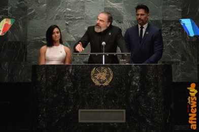 NEW YORK, NY - MARCH 18: (L-R) Actors Joe Manganiello, Mandy Patinkin, and Demi Lovato speak at the United Nations Headquarters celebrating International Day of Happiness in conjunction with SMURFS: THE LOST VILLAGE on March 18, 2017 in New York City. (Photo by Andrew Toth/Getty Images for Sony Pictures)