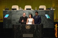 NEW YORK, NY - MARCH 18: (L-R) Actors Mandy Patinkin, Demi Lovato, and Joe Manganiello speak at the United Nations Headquarters celebrating International Day of Happiness in conjunction with SMURFS: THE LOST VILLAGE on March 18, 2017 in New York City. (Photo by Andrew Toth/Getty Images for Sony Pictures)