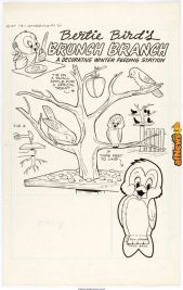 Harvey Eisenberg Tom and Jerry Winter Fun 7 Bertie Bird's Activity Page Original Art - Dell 1958-afnews