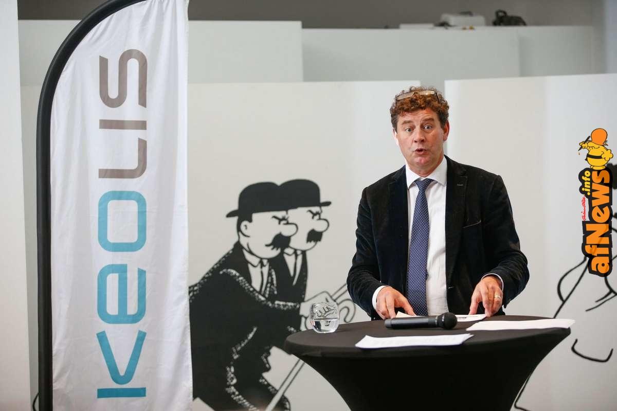 Le CEO de Keolis, Redgy Deschacht, pendant la conférence de presse de mardi - © BRUNO FAHY - BELGA