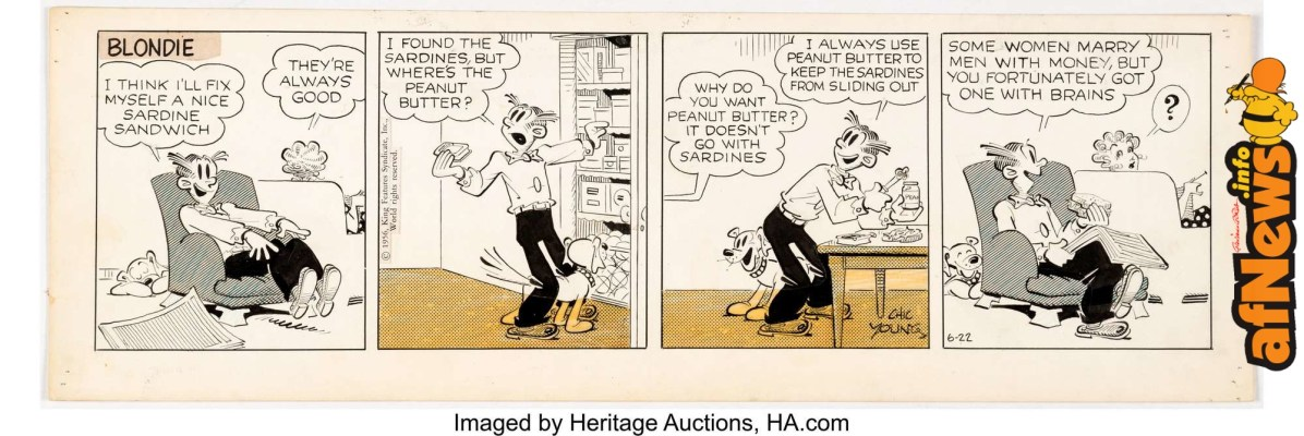 Chic Young Blondie Daily Comic Strip Original Art dated 6-22-56-afnews