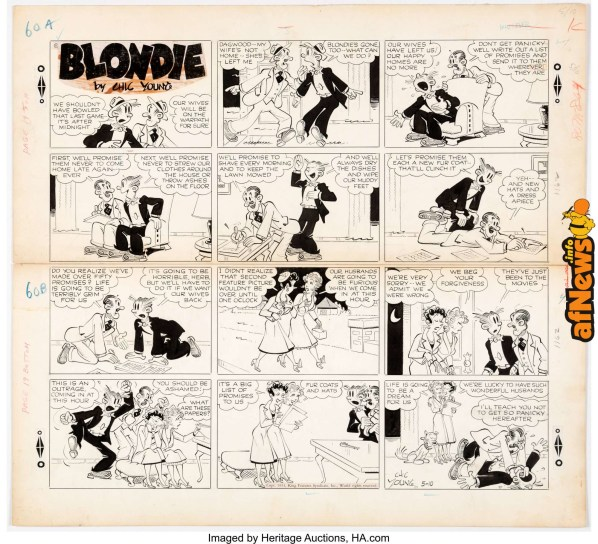 Jim Raymond (as Chic Young) Blondie Sunday Comic Strip Original Art dated 5-10-53-afnews
