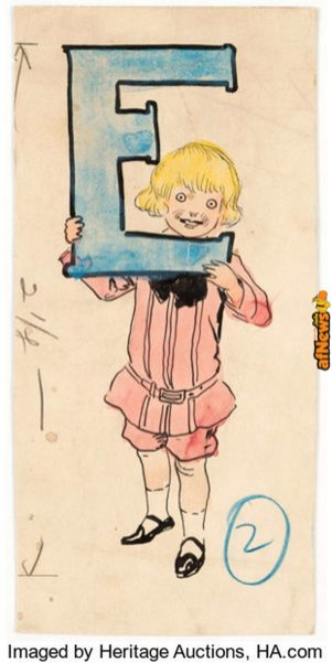 Richard F. Outcault - Buster Brown with an E Illustration Original Art (c. 1910-20s)-afnews
