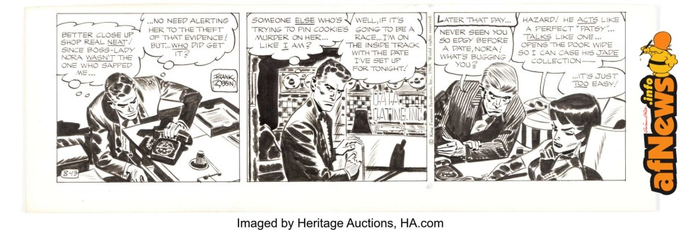Frank Robbins Johnny Hazard Daily Comic Strip Original Art dated 8-13-69-afnews