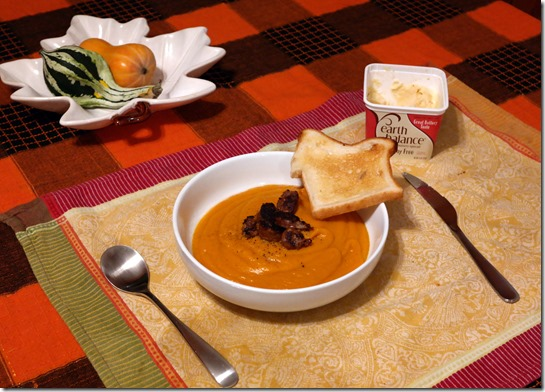 butternut squash soup with toast