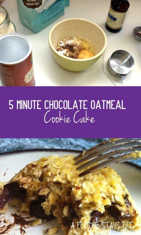 5 Minute Chocolate Oatmeal Cookie Cake