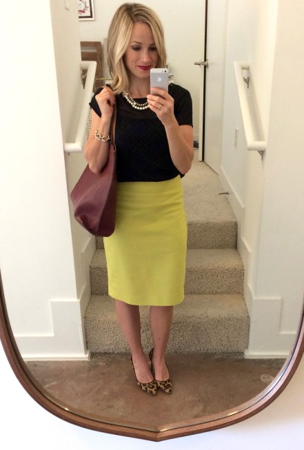 what to wear with a mustard skirt