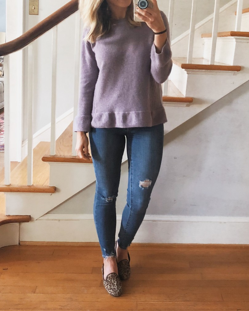 Purple sweater for Fall wardrobe staples