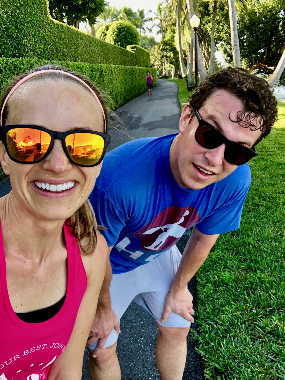 couple running selfie