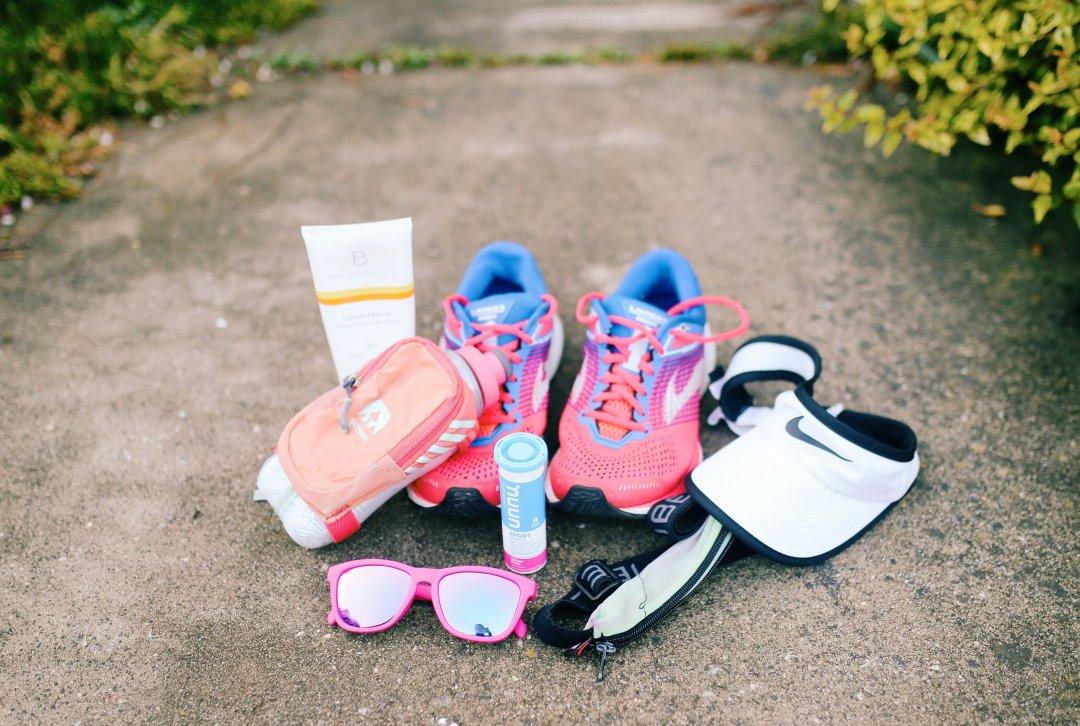 sunglasses, shoes, visor, belt, Nuun, sunscreen, water bottle