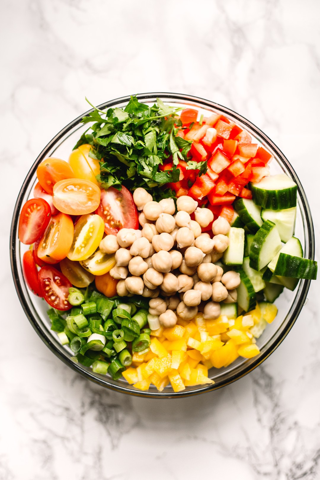 Rainbow chickpea salad