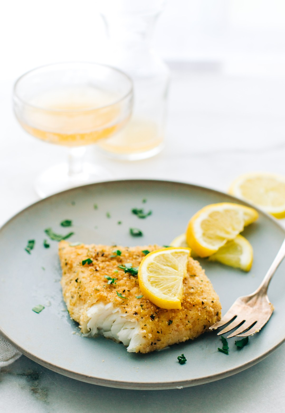 Baked Halibut with bread crumbs