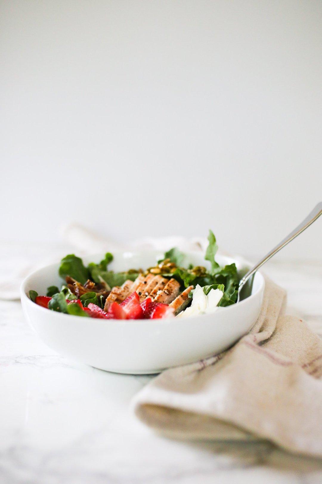 Kale Salad with Strawberries, Caramelized Pepitas, Dates & Pecorino Romano