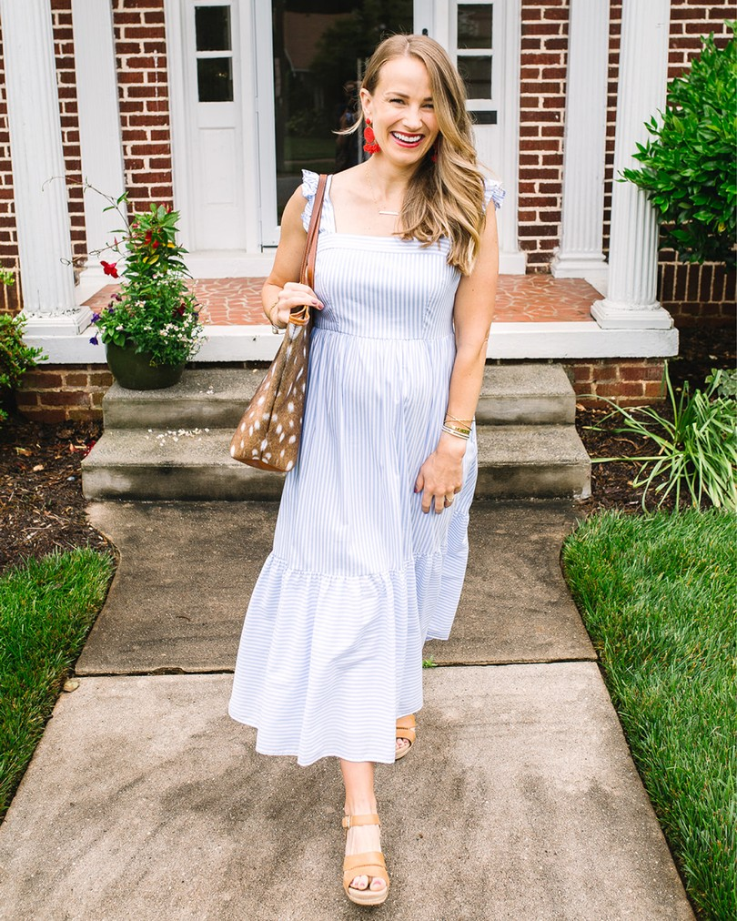 blue striped maxi dress | 5 Dresses you Need for a Timeless Flattering Wardrobe