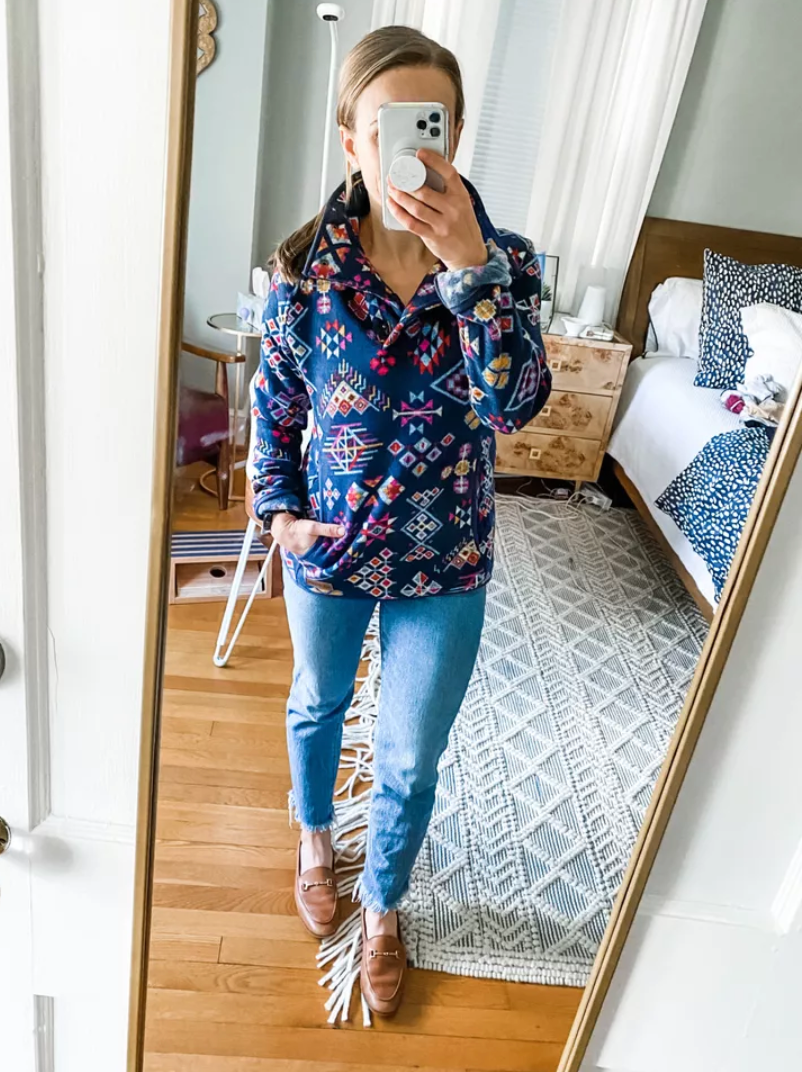 fun patterned pullover   February Outfit Roundup