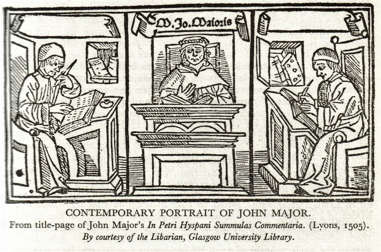 Picture of John Mair (or John Major) in the frontespiece of one of his publications
