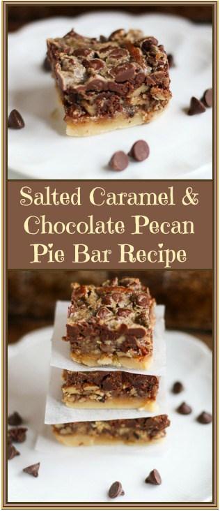 Salted Caramel and Chocolate Pecan Pie Bars