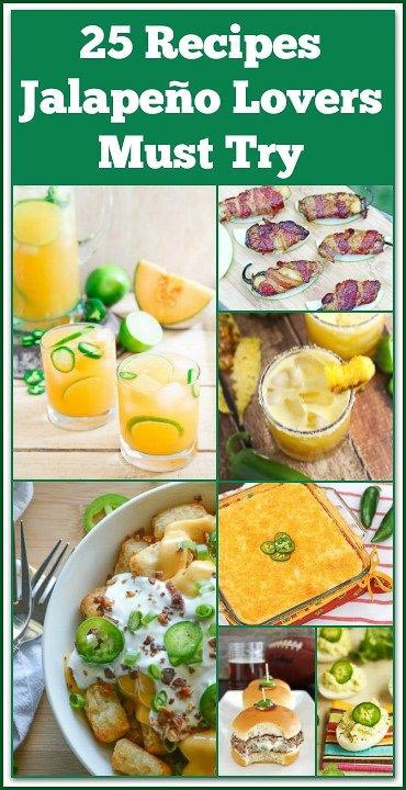 This roundup is 25 Recipes Jalapeño Lovers Must Try! There are cocktails, appetizers, side dishes, and entrees to bring some spice into your life!