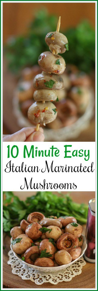 Do you love the Deli-Style Marinated Mushrooms at the Antipasto Bars? Then you will love this10 Minute Easy Italian Marinated Mushrooms Recipe! Make your own at a fraction of the price.