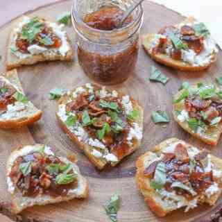 Bacon, Fig Jam,  & Goat Cheese Bruschetta + Holiday Antipasto Platter