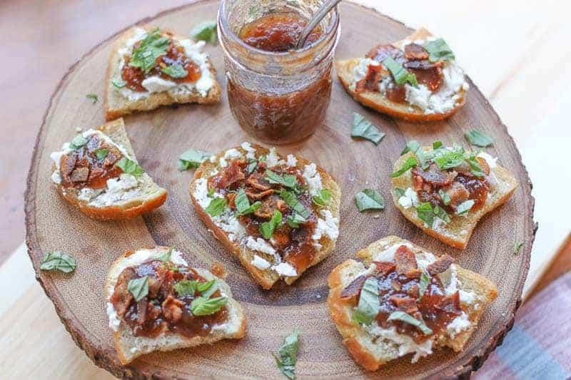 Bacon Fig Jam, and Goat Cheese Bruschetta