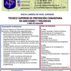 """Nueva propuesta educativa """"Tecnicatura Superior en Prevención Comunitaria en Adicciones y Violencias"""""""